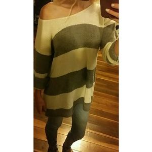 Rue 21 gray and white striped knit sweater